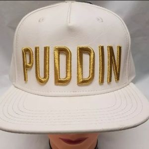 PUDDIN Leather Snapback Baseball Hat